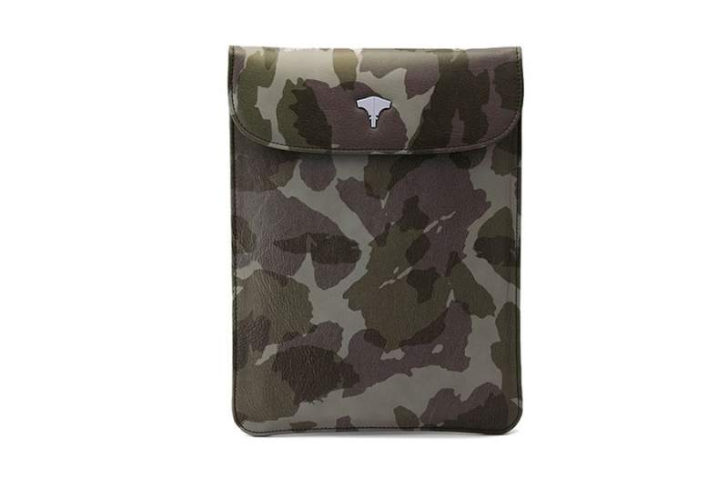 Tablet Bag Real Leather Camouflage Green