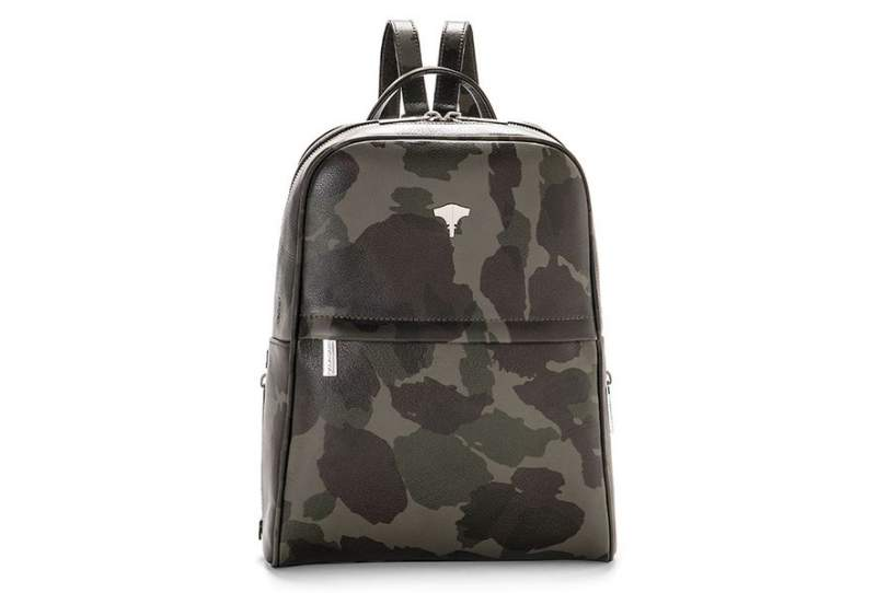 Backpack Real Leather Camouflage Green