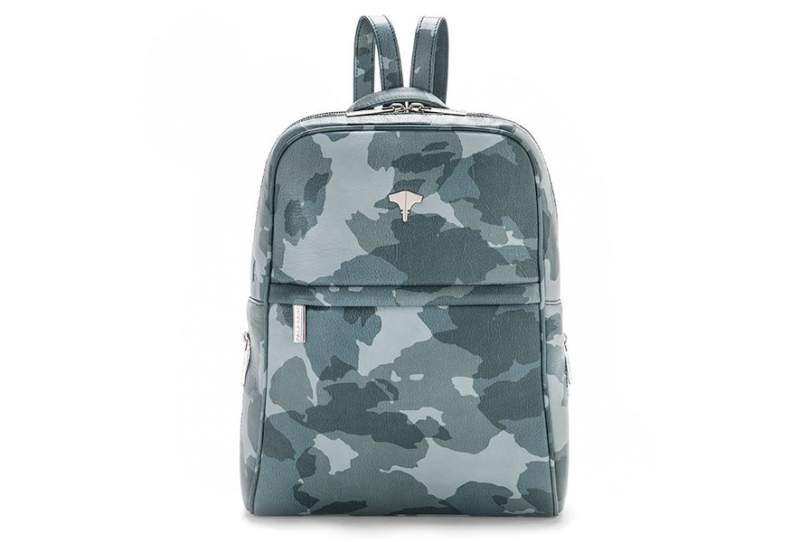 Backpack Real Leather Camouflage Blue Navy