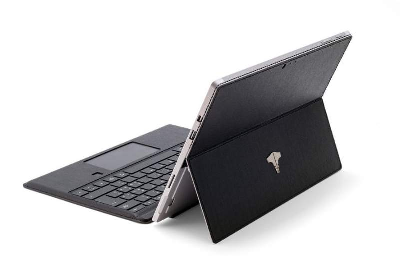 PC Tablet & Real Leather Saffiano Black