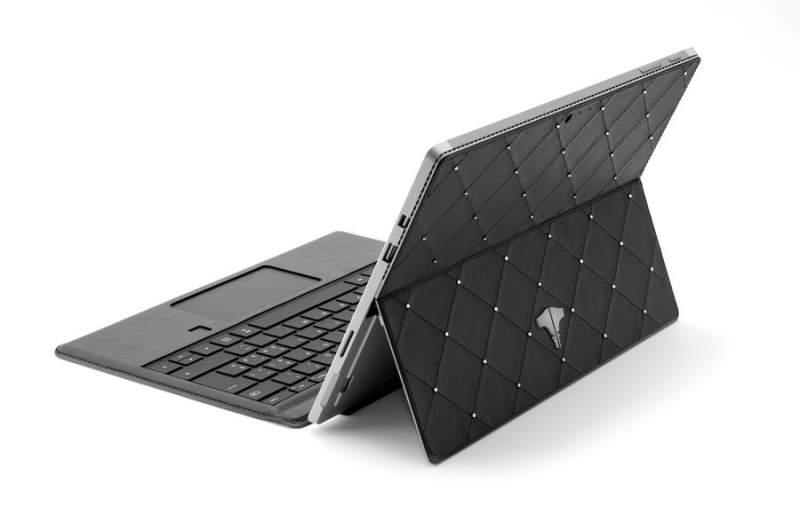 PC Tablet & Real Leather Black Swarovski