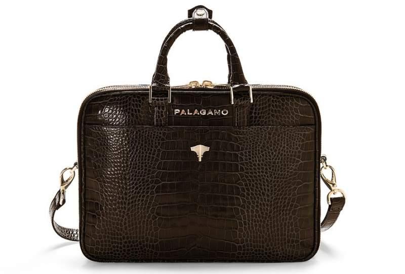 Briefcase Brera Real Crocodile Brown