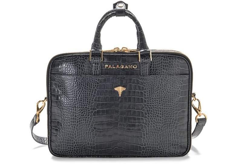 Briefcase Brera Real Crocodile Grey
