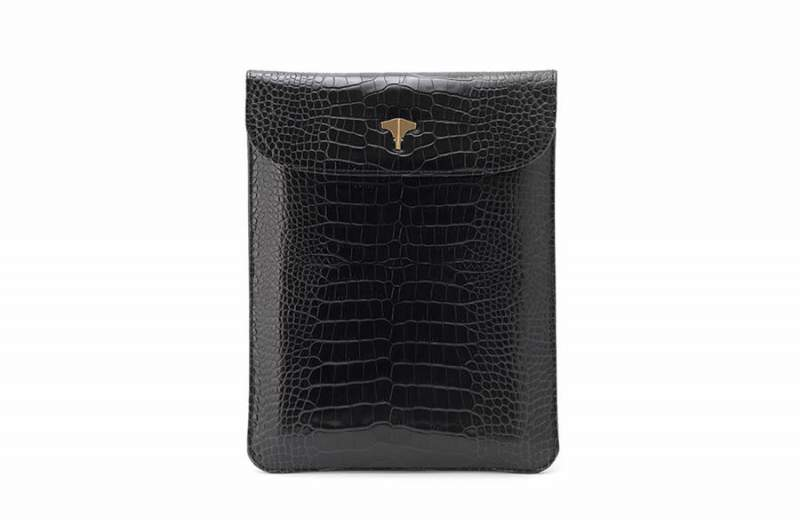Tablet Bag Crocodile Printed Black