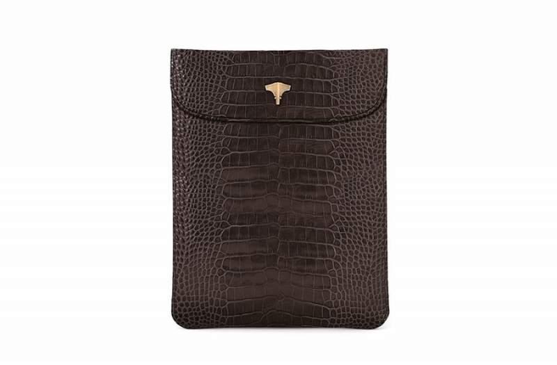 Tablet Bag Crocodile Printed Brown