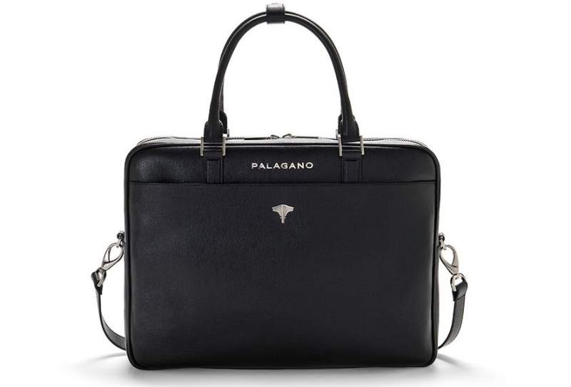 Briefcase Real Leather Saffiano Black
