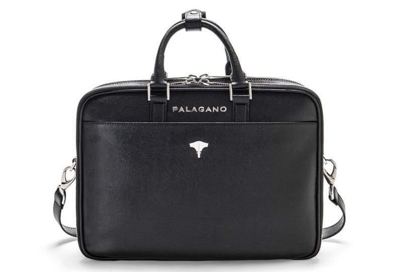 Briefcase Brera Real Leather Saffiano Black